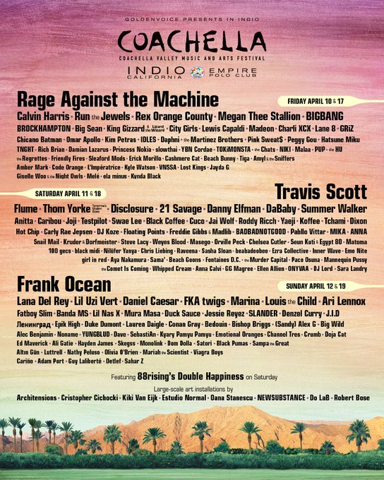 Coachella 2020 lineup - OYR