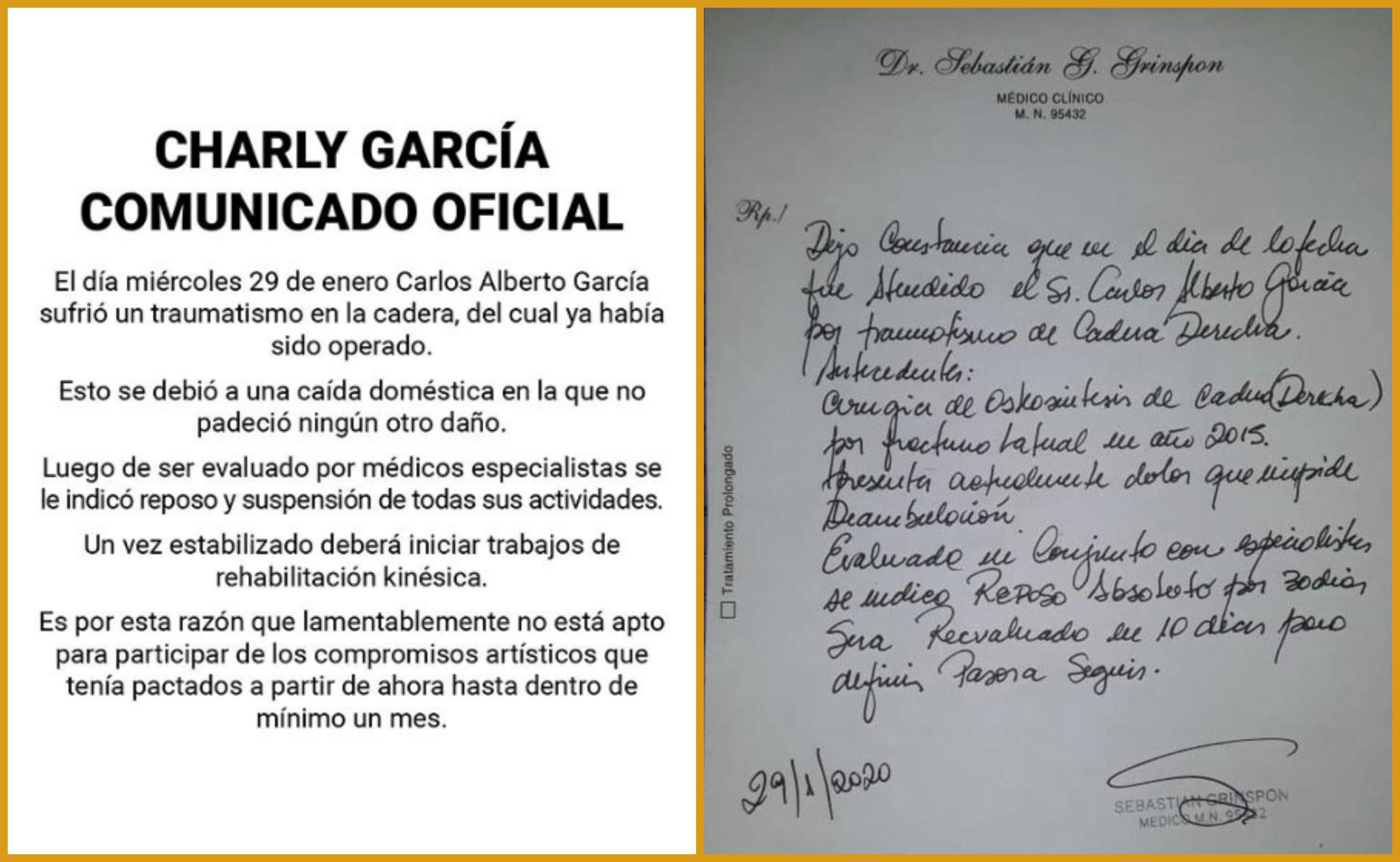 Comunicado y Certificado Medico de Charly Garcia - OYR
