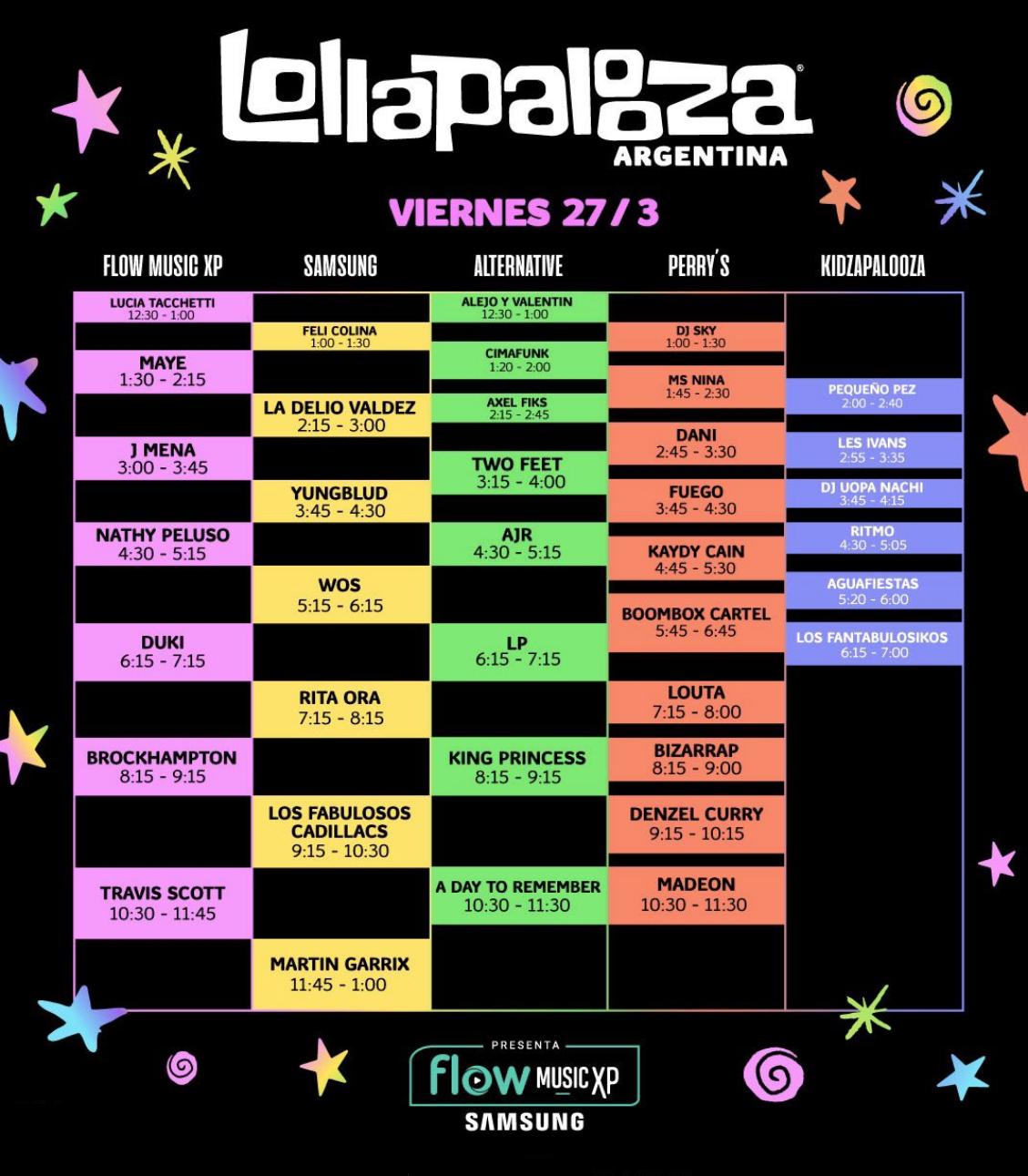 Horarios LollaAr Viernes 27 - OYR